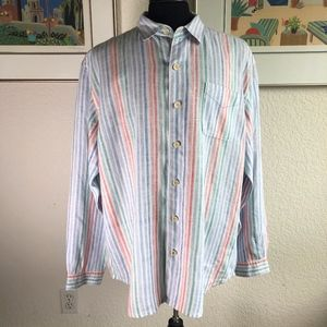 Tommy Bahama Linen Relax Striped Shirt Size XL